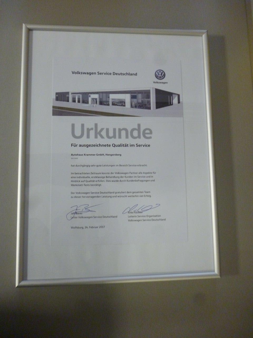 Urkunde für ausgezeichnete Qualität im Service